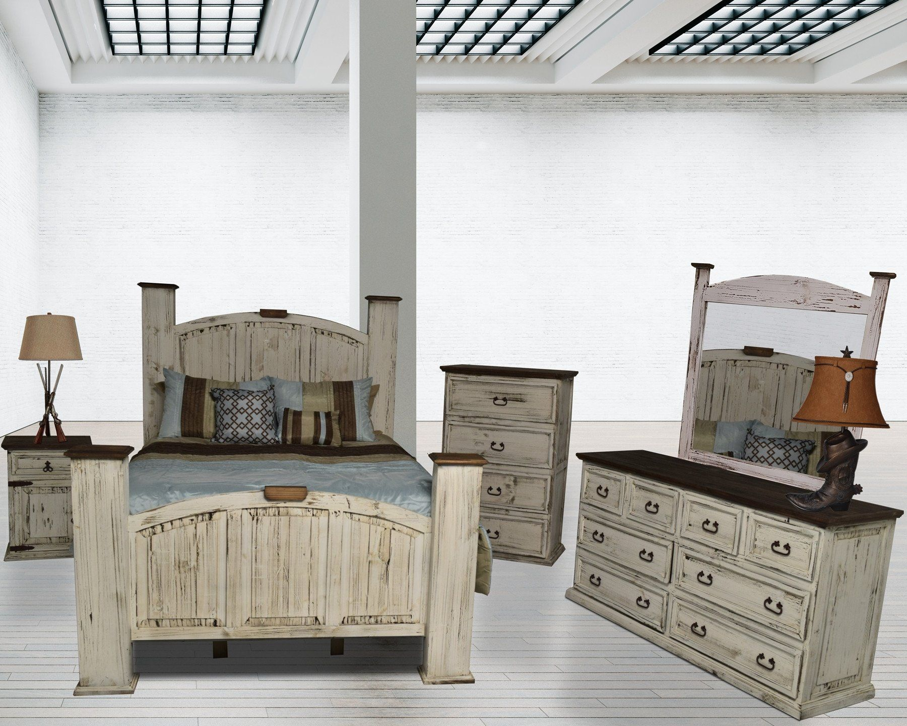 Rustic collection mansion white piece bedroom suite products