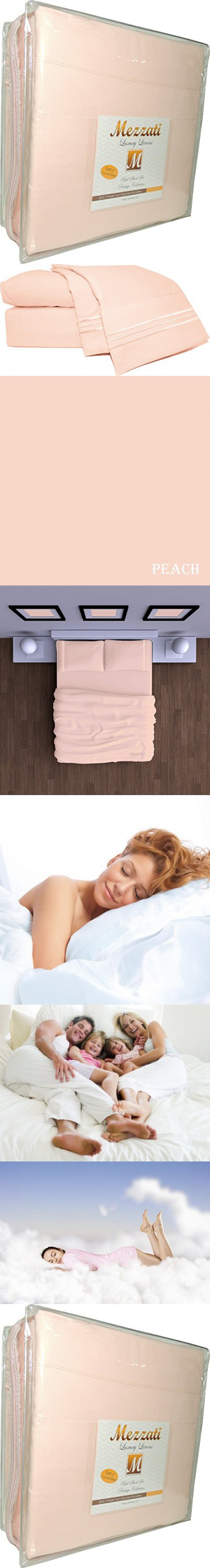 Mezzati Luxury Bed Sheets Set   Sale   Best, Softest, Coziest Sheets Ever!  1800 Prestige Collection Brushed Microfiber Bedding (Peach, Queen)