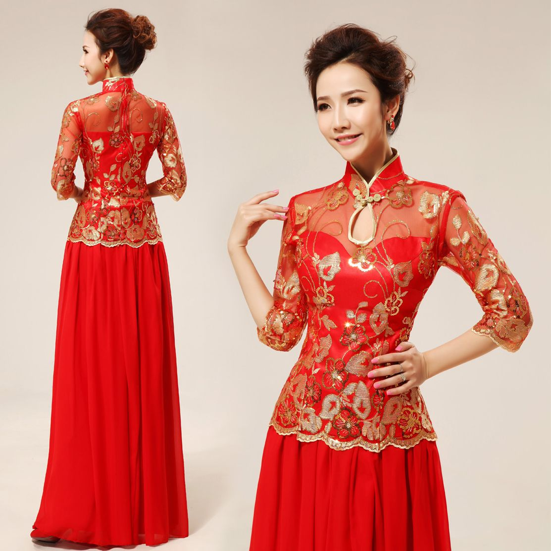 Mandarin collar gold sequins floral embroidered Chinese red qipao ...