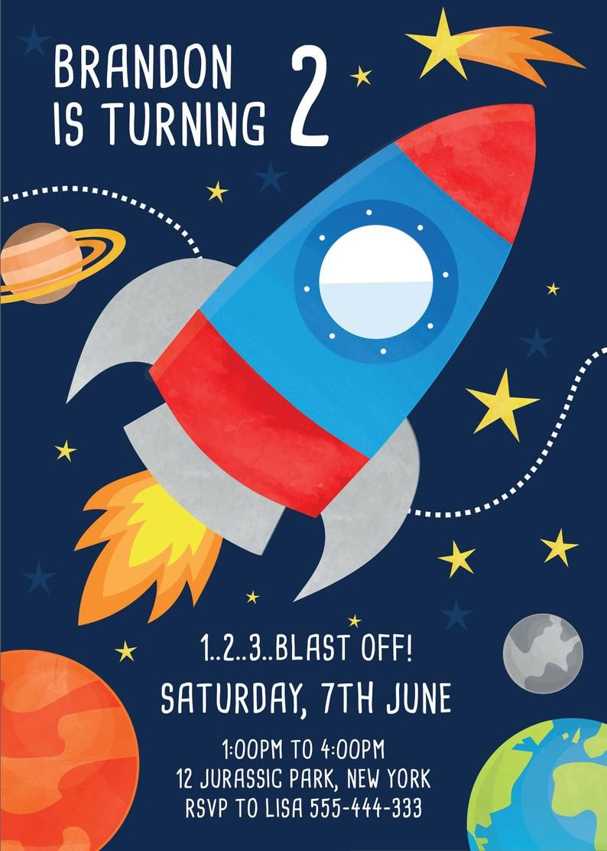 Space Rocket Birthday Party Invitations