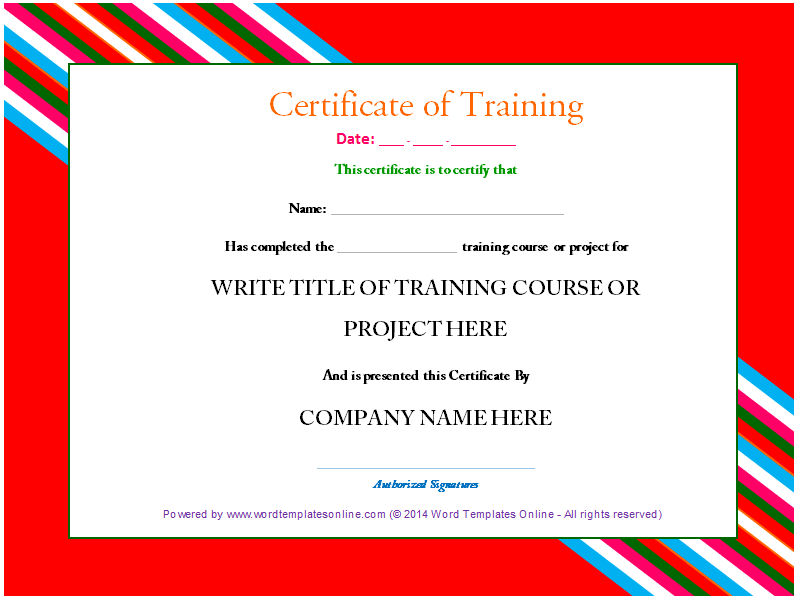 professional training certificate template from word templates online