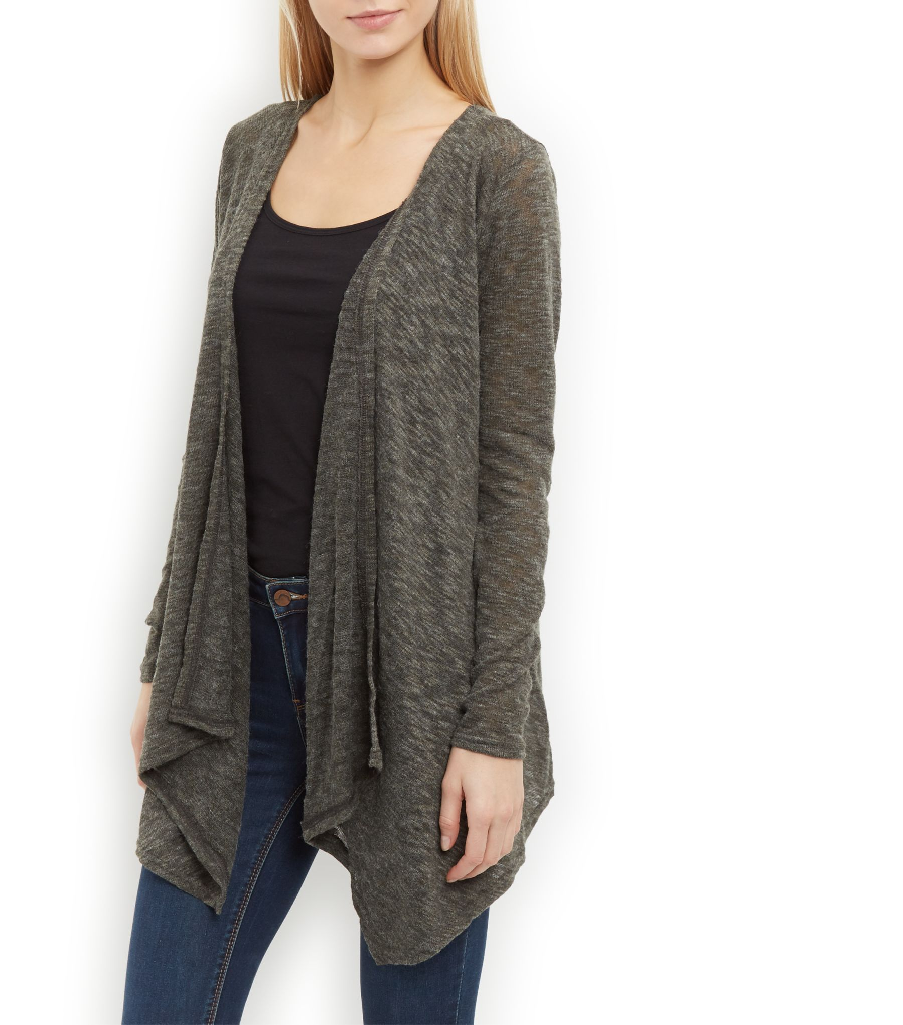 Khaki Fine Knit Slub Waterfall Cardigan | Khakis, Womens knitwear ...