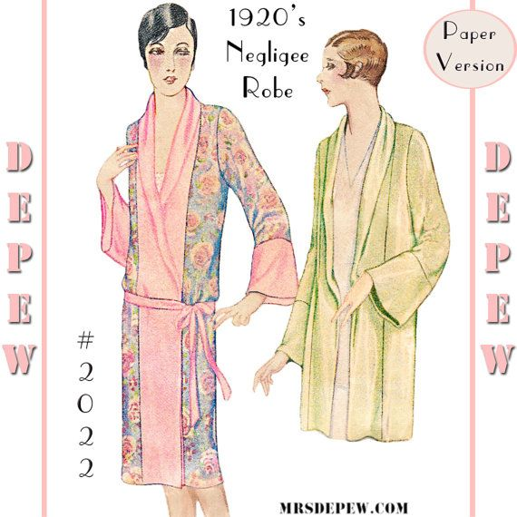 Vintage Sewing Pattern Reproduction 1920s Kimono Negligee Robe #2022 ...