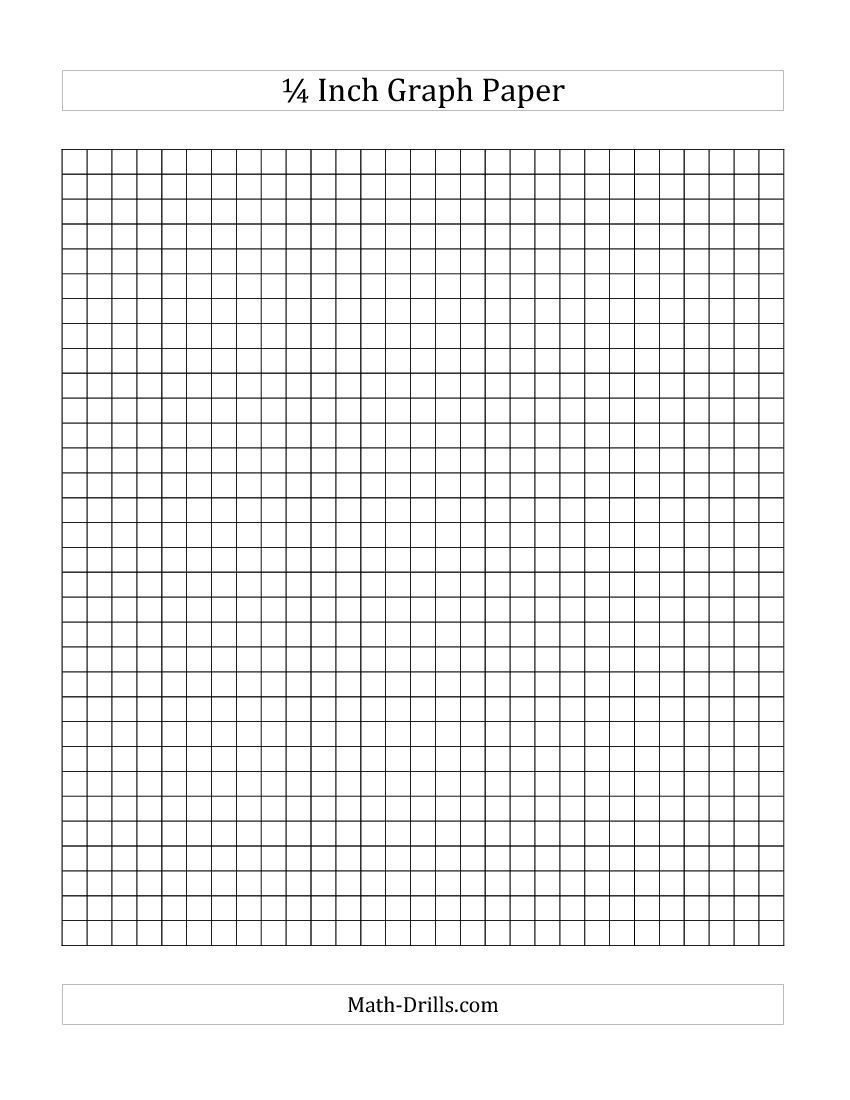 1/4 Inch Graph Paper (A) Math Worksheet #freemath