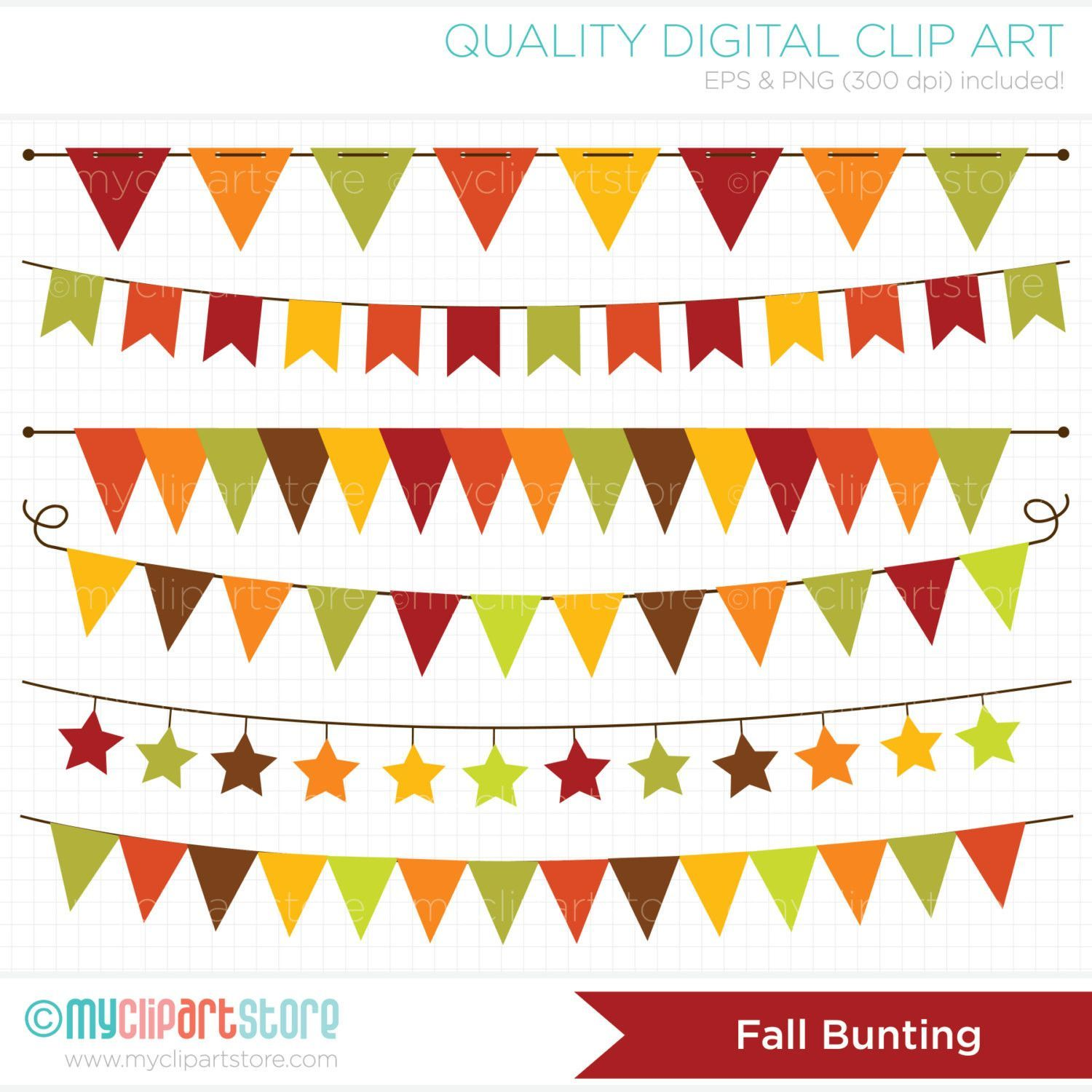 Vector bunting flags lovely celebration card with colorful paper - Autumn Fall Bunting Thanksgiving Banner Flags Clip Art Digital Clipart Instant Download