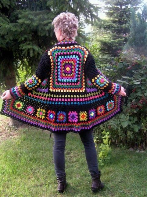 Crochet Granny Square Jacket Tutorial Pattern #grannysquareponcho