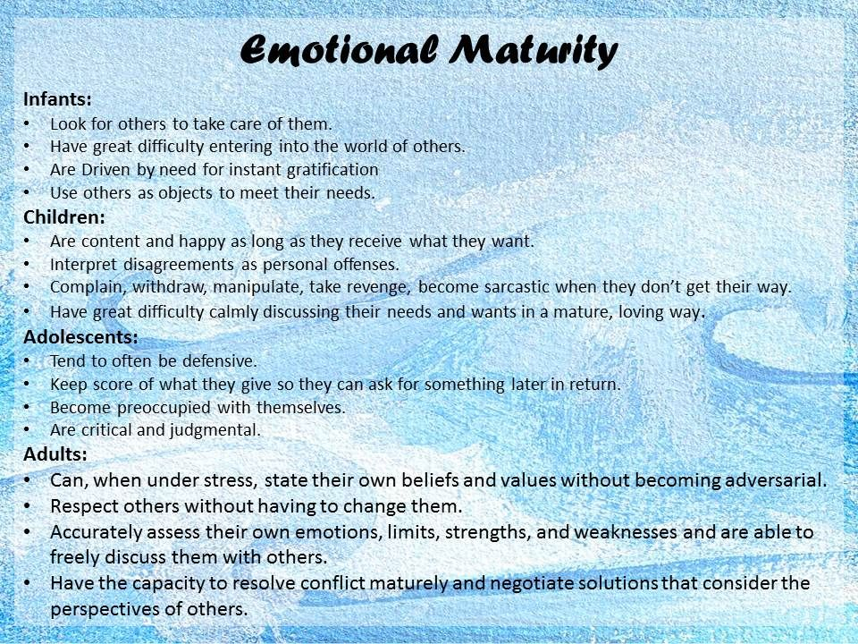 Modernisation and emotional maturity