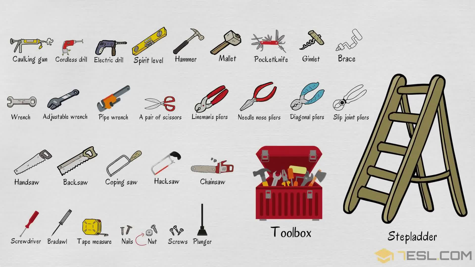 Tools Names Useful List Of Tools In English With Pictures Gardening Tools Names Vocabulary Tools List Of Tools