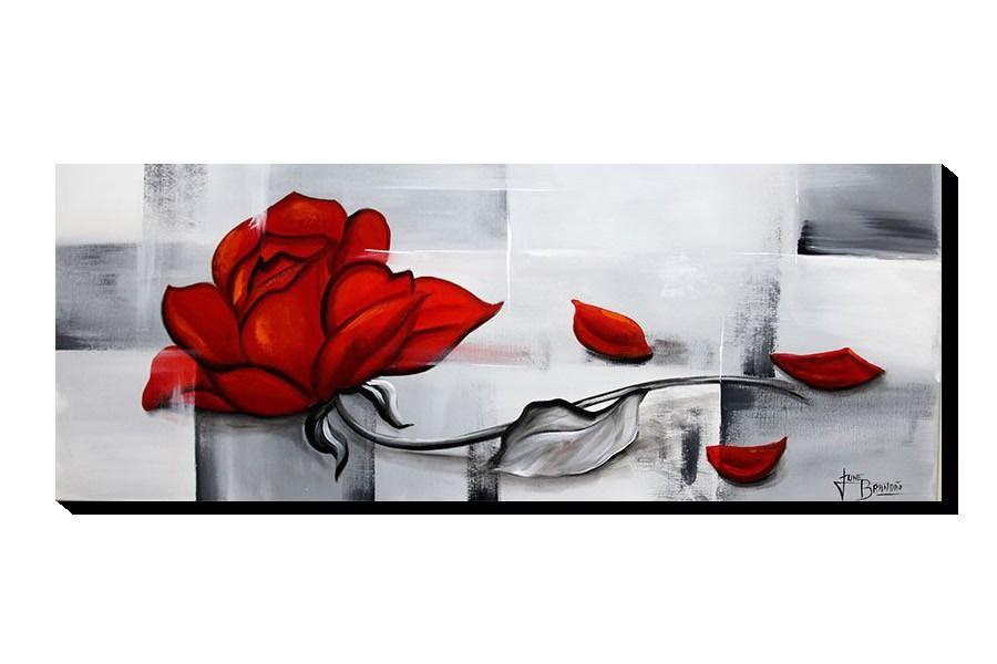 734c3e6c6 Quadro Decorativo Rosa Vermelha 40x105cm - R  99