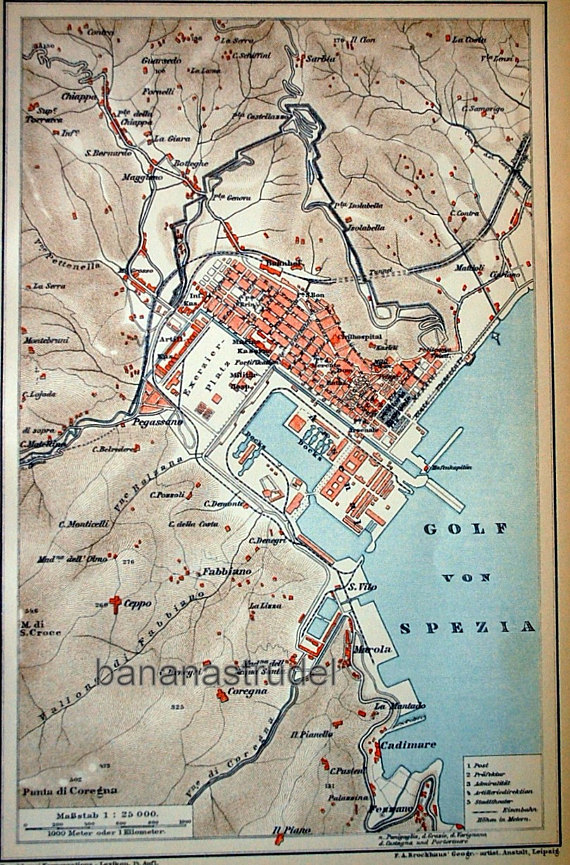 Antique Map Of La Spezia Italy 1895 Vintage City Map