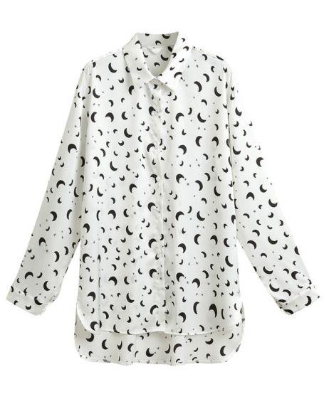 cd987f3ba91737 Asymmetric Moons & Stars Print Chiffon Shirt, shirt, astronomy ...