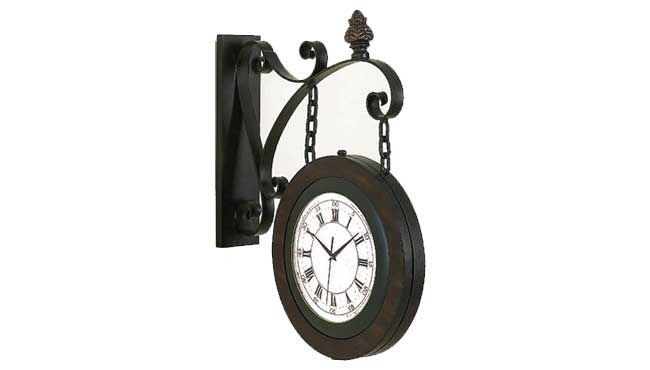 benzara double sided railway 22inch wooden train station wall clock