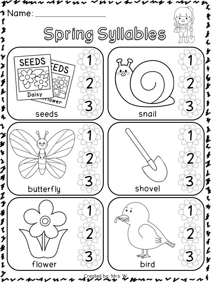 Spring Literacy and Math   Syllable, Literacy and Kindergarten
