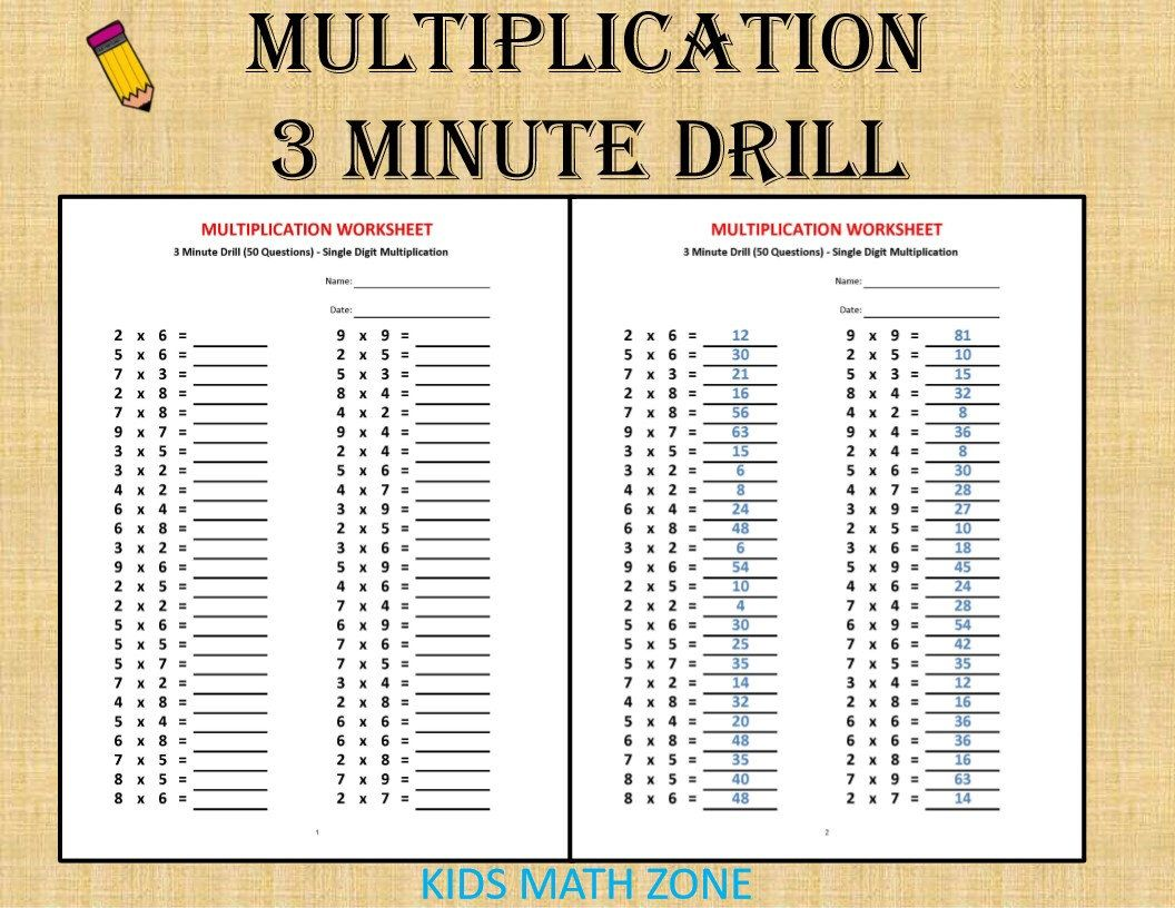 Multiplication 3 Minute Drill H With Answers 10 Sheets Pdf Year