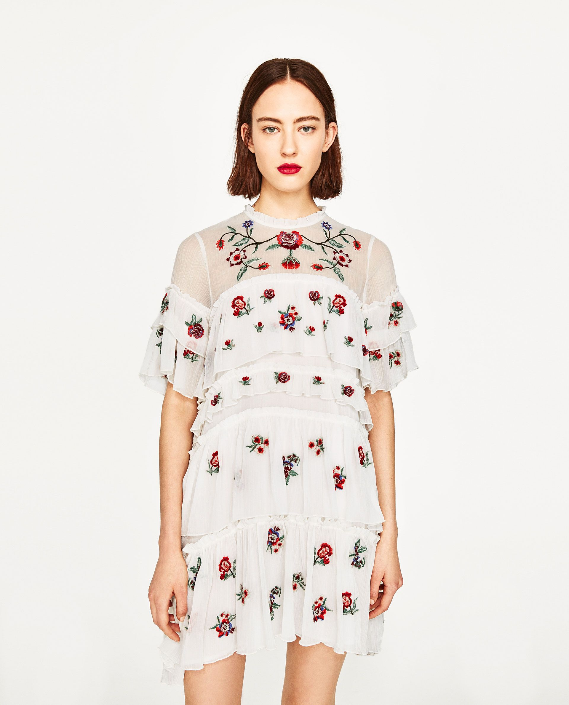 Image 2 of embroidered mini dress from zara dresses pinterest weve rounded up perfect wedding guest dresses that are chic and affordable this creme zara embroidered ruffle dress ombrellifo Choice Image