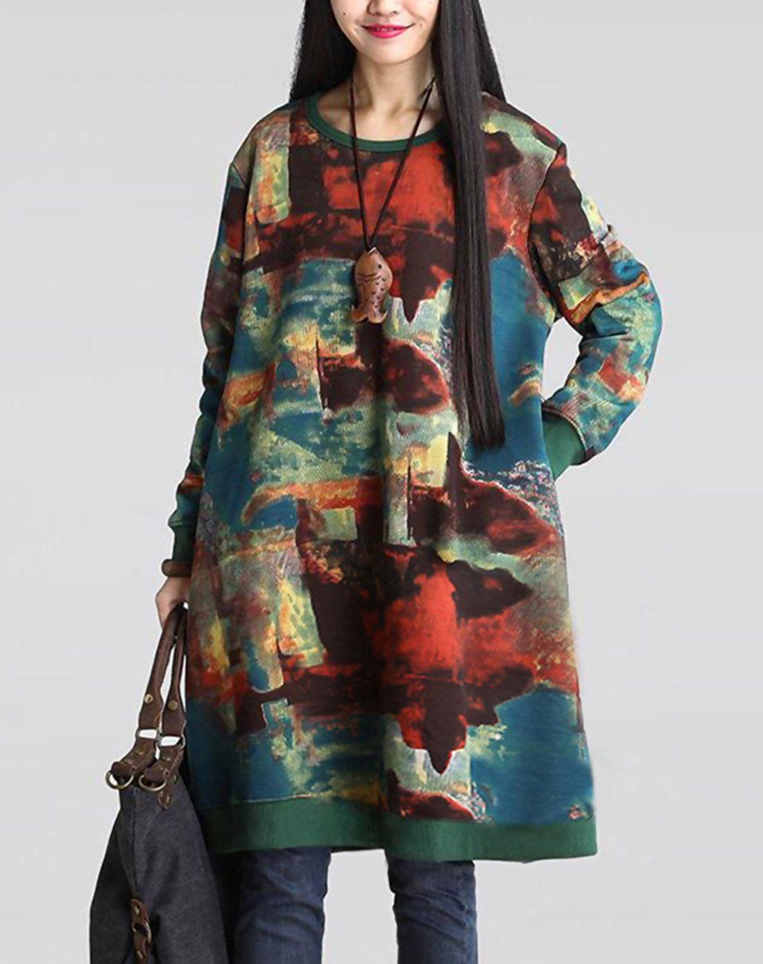 #AdoreWe #VIPme Sweatshirts & Hoodies - HAMEI Black Pullover Abstract Printed Long Sweatshirt - AdoreWe.com