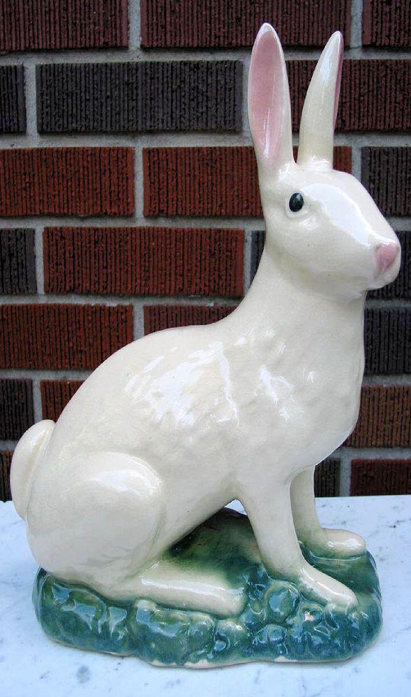 Large Vintage Majolica Pottery Rabbit Centerpiece Statue Bunny