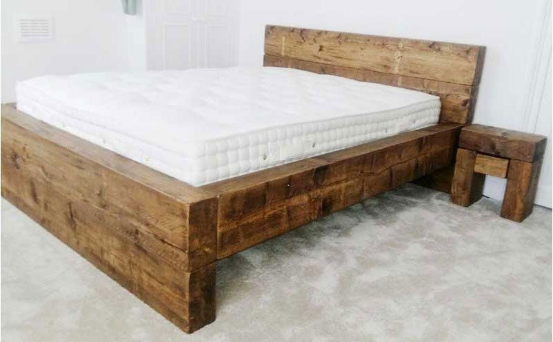 Chunky Wood Rustic Sleeper Bed Low Foot End Double King Super Bed Frame Bed Frame Wooden Bed Frames Bed Furniture