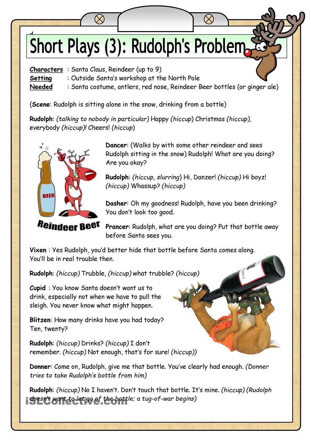 Short Plays 3 Rudolph S Problem Short Play Christmas Worksheets Poetry For Kids [ 1440 x 1018 Pixel ]