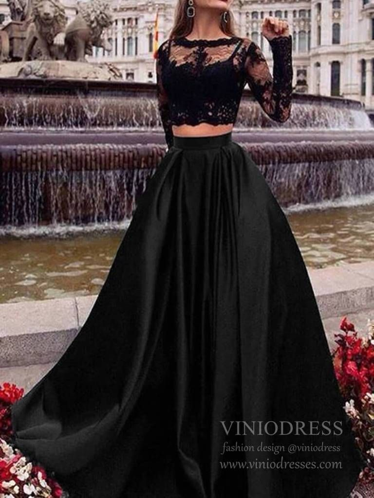 Long Sleeve Two Piece Lace Black Prom Dresses With Pockets Fd1711 In 2021 Prom Dresses Long Black Prom Dresses With Sleeves Black Prom Dresses [ 1024 x 768 Pixel ]