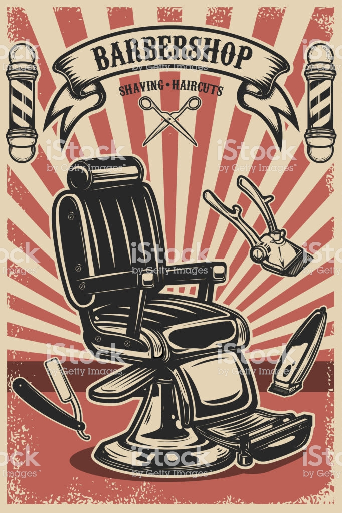 Barber shop poster template. Barber chair and tools on ...
