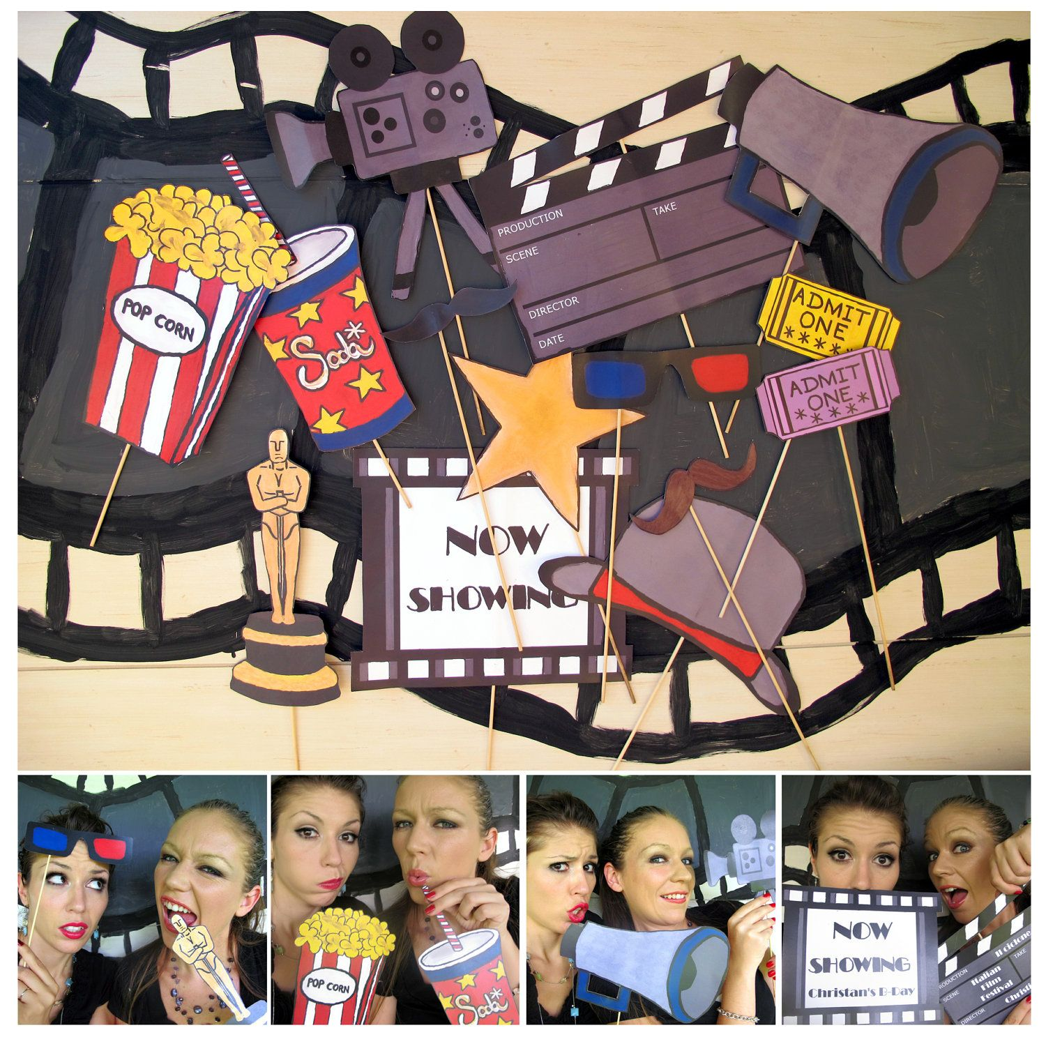 Movie Photo Booth Props Perfect For A Movie Night Oscar Bash Hollywood Party Or Cinema Birthday Movie Themed Party Movie Birthday Party Hollywood Party Theme