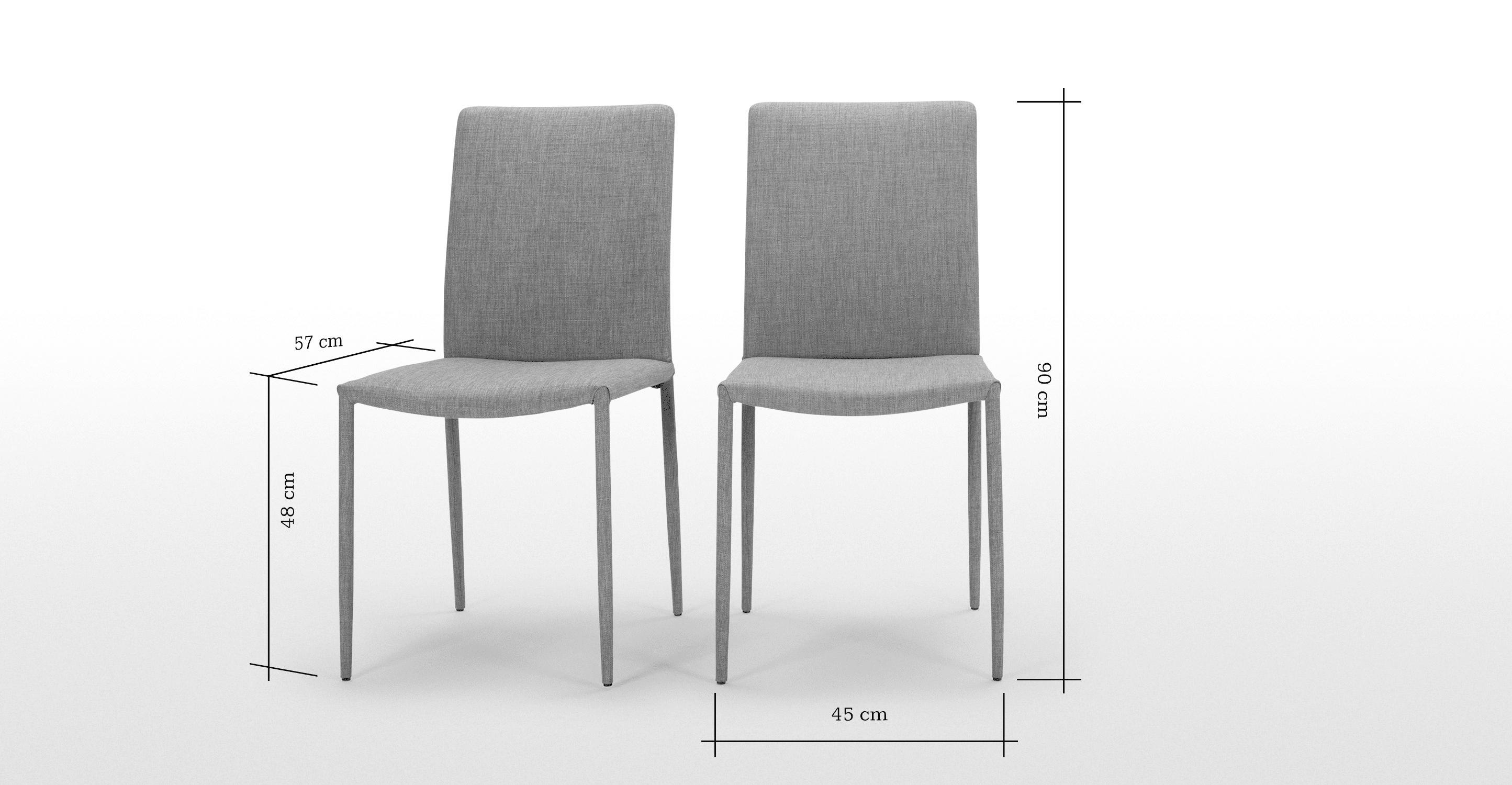 Braga, lot de 2 chaises, gris cathédrale | Salle à manger