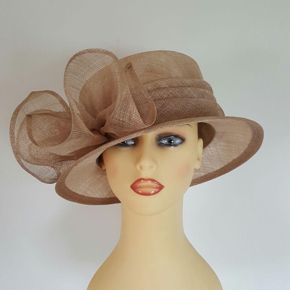 Ladies Wedding Hat Races Mother Bride Ascot Hat Milky Coffee Swirls