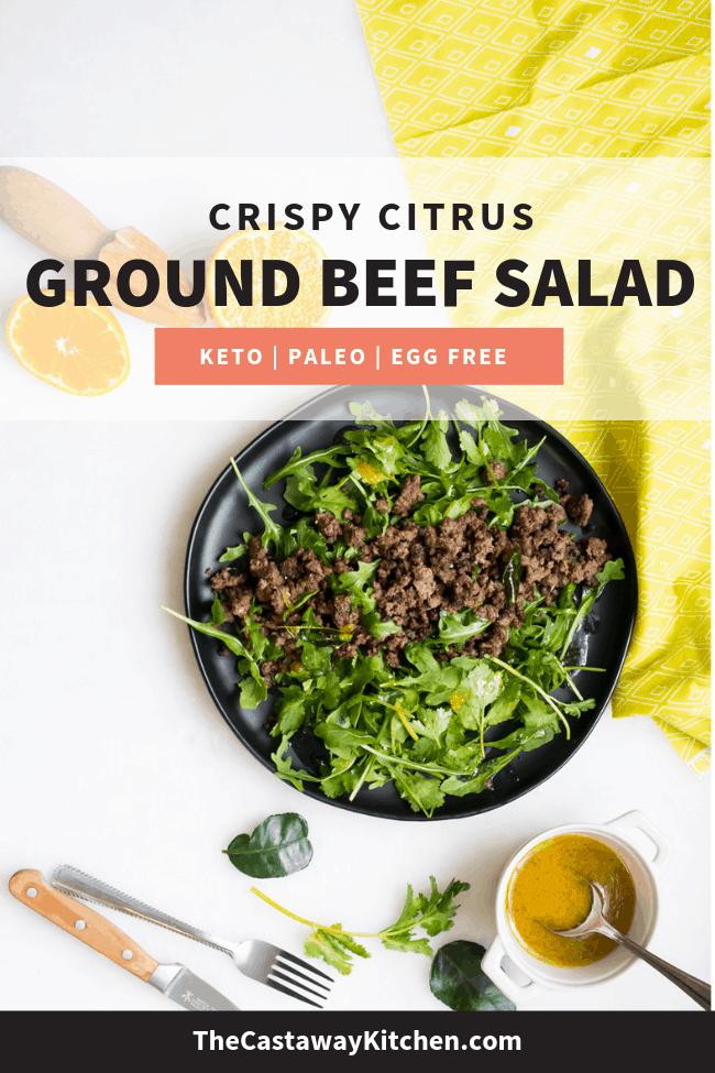 Crispy Citrus Ground Beef Salad Recipe Dinner Recipes Healthy Low Carb Dairy Free Keto Recipes Delicious Paleo Recipes