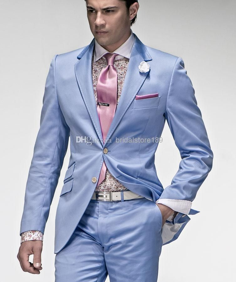 76 New Design Tow Button Light Blue Groom Tuxedos Men Wedding Suits Best  Man Suits Jacket+Pants+Tie Dress Trousers Mens Formal Mens From  Bridalstore189, ...
