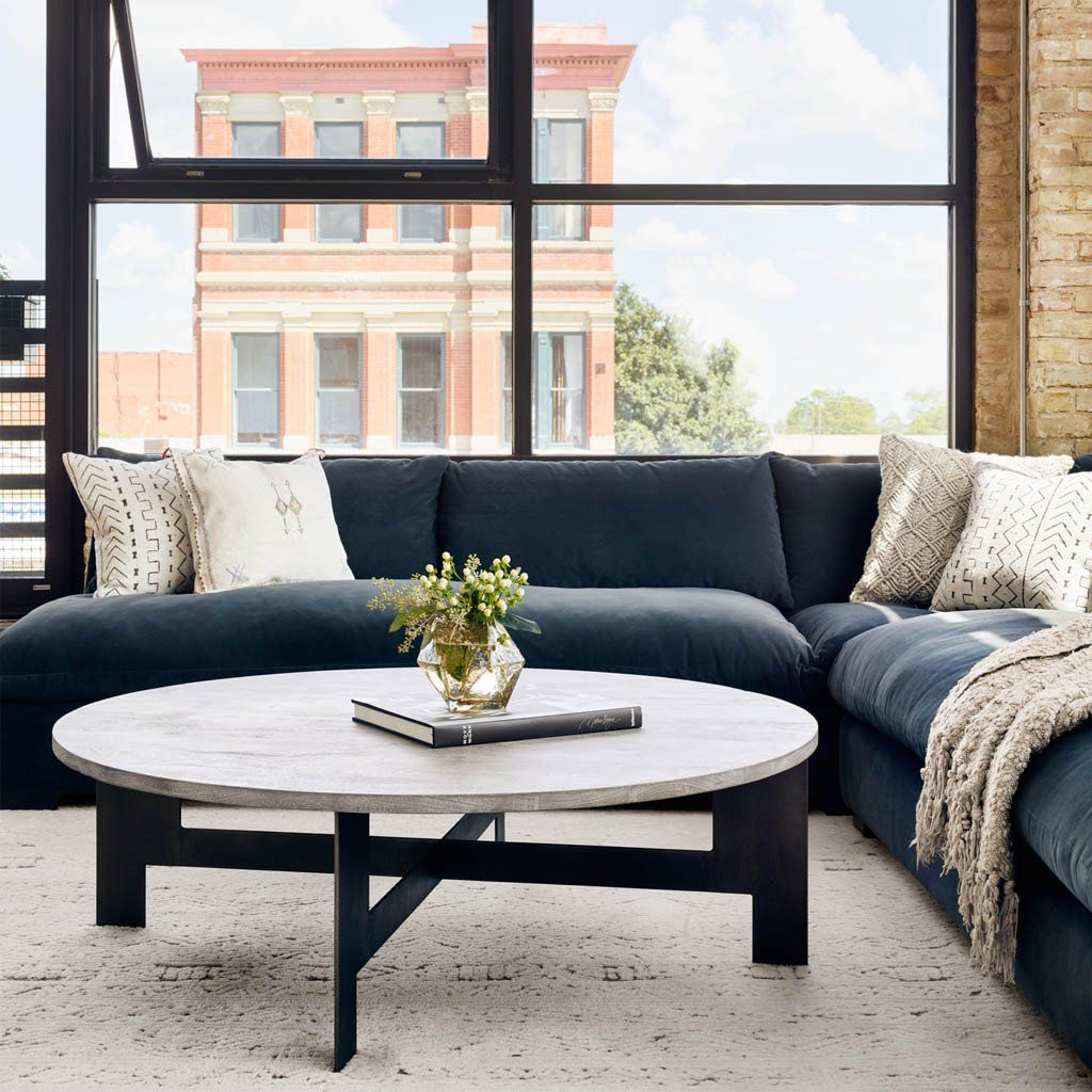 Round Coffee Table With Iron Living Room Decor Gray Trendy Living Rooms Table Decor Living Room