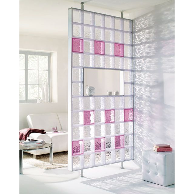 brique verre synth tique translucide castorama s paration de pi ce glass blocks wall. Black Bedroom Furniture Sets. Home Design Ideas