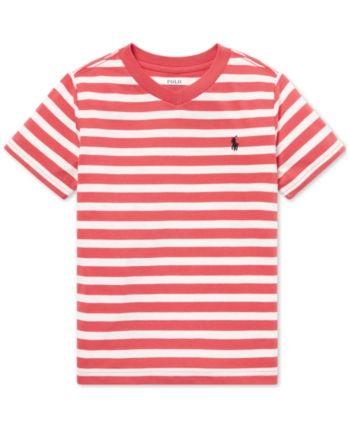 e22ade7cd Polo Ralph Lauren Little Boys Striped V-Neck T-Shirt - Nantucket Red Multi 5