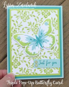 Photo Tutorial Triple Pop Up Butterfly Card Butterfly Cards Fancy Fold Cards Pop Up Cards