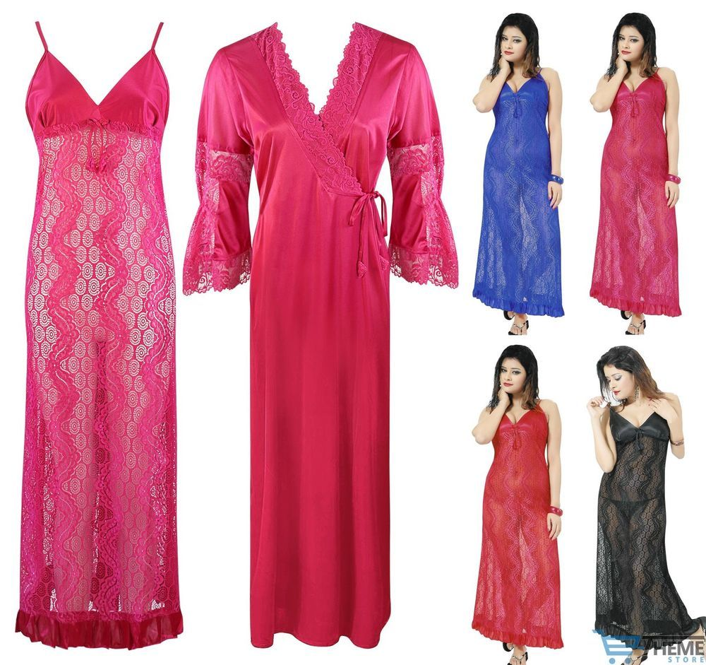 LADIES 2PC NIGHTY HONEYMOON NIGHTY GOWN CHEMISE ROBE WOMENS NIGHTDRESS  57b160508