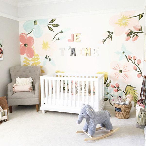 Best 7 Fantastic Feature Walls For Nurseries Pastel Nursery Floral Nursery Girl Nursery 400 x 300