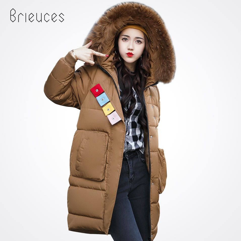 d5f2ab6a511 Pinky Is Black Winter Jacket Women Coat Long Parkas Female Warm Overcoat  Big Fur Collar High Quality Thicken jacket New Arrival