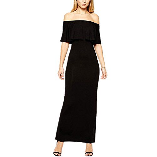 Slender and graceful in this long dress, ruffle neckline, off-shoulder design and split to reverse. It¡¯s always the well-liked attire for any occasion.