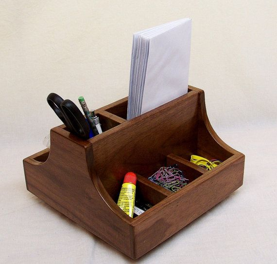Smart Desk Organizer Pen Pencil Holder Office Caddy Recycled Walnut Wood 9 5 Inches 62 00 Via Etsy