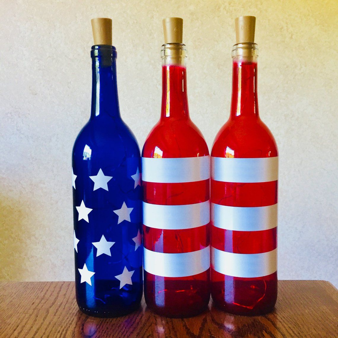 Patriotic Wine Bottles With Or Without Twinkle Fairy Lights Etsy In 2020 Wine Bottle Decor Bottles Decoration Valentines Wine Bottle Crafts
