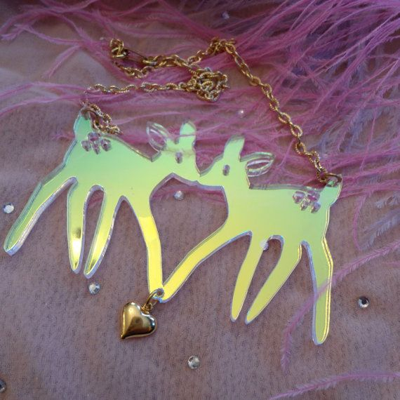 THIS IS PERFECT Radiant Acrylic FAWNS Necklace. $12.00, via Etsy.