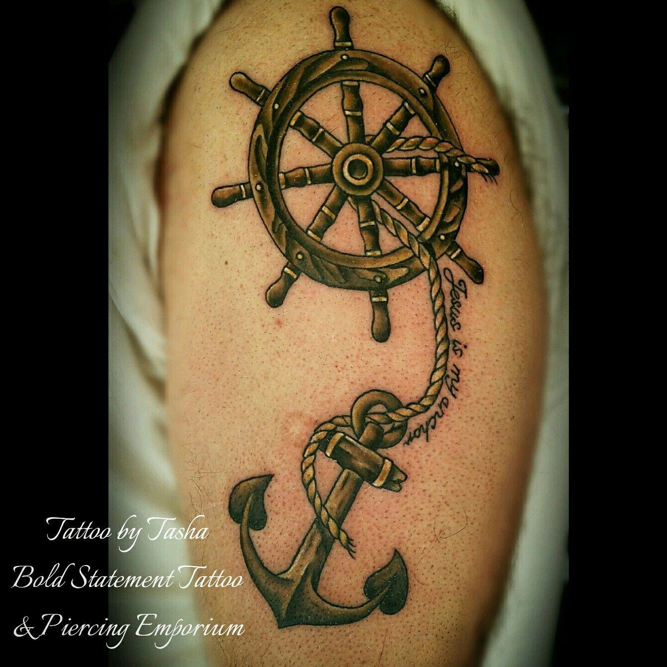 Wooden Anchor And Ship S Wheel Tattoo Ship Wheel Tattoo Tattoos Wheel Tattoo