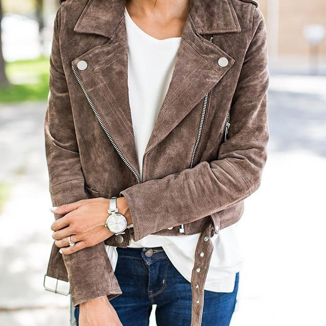 Our number one for Fall... suede moto jackets. @hellofashionblog