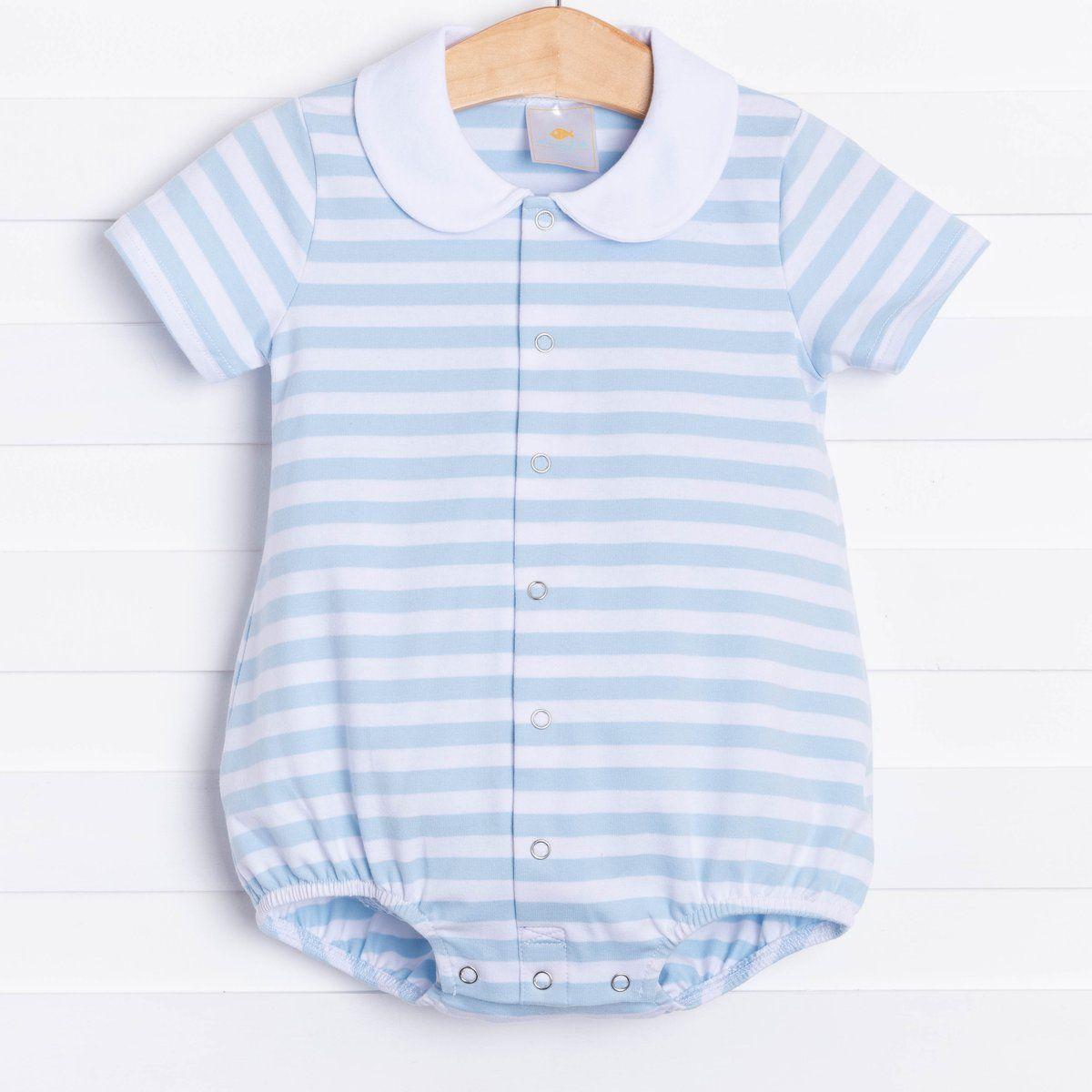 Sailboat Smocked Blue Stripe Boys Bubble Short Sleeve