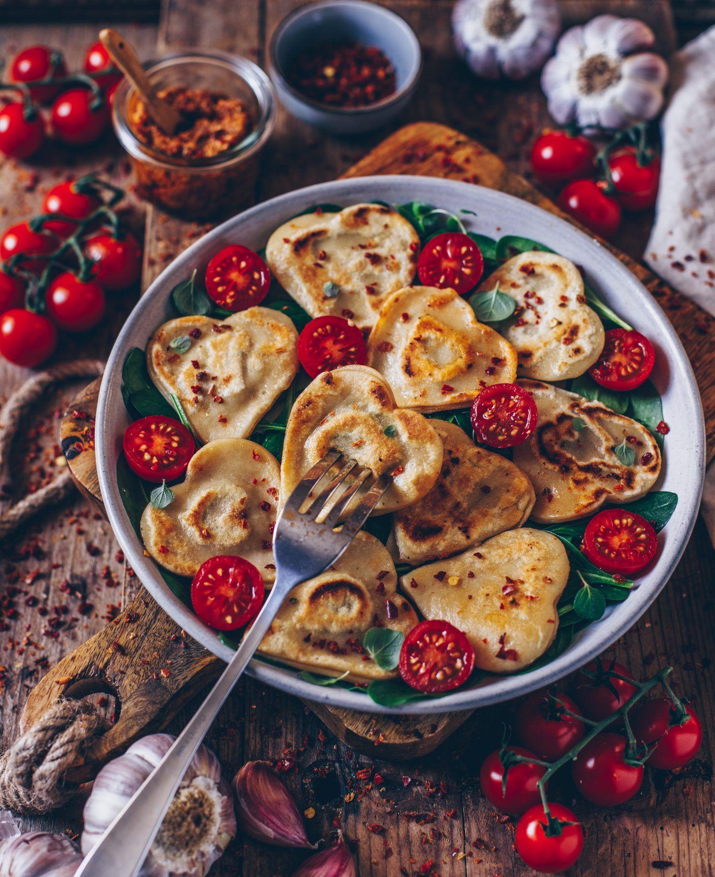 Homemade Vegan Ravioli Hearts For Valentines Day