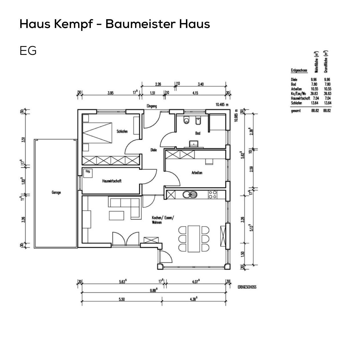 Grundriss Bungalow Haus mit Garage und Pultdach 3 Zimmer