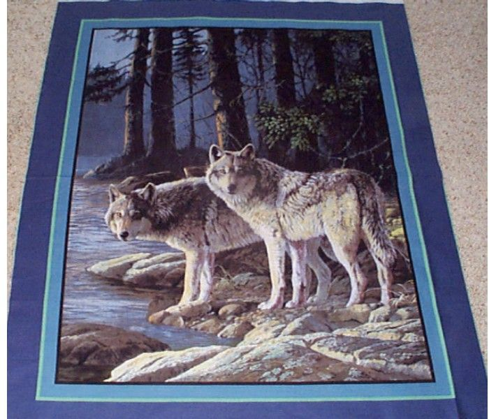 New Pine Ridge Wolf Wall Hanging Quilt Top Panel Fabric