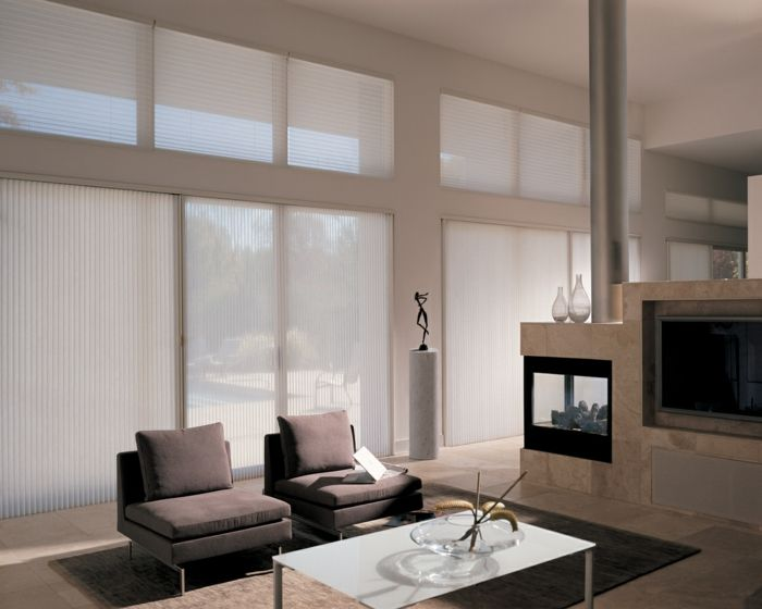 Schon Fenster Sichtschutz Moderne Plissees Sonnenschutz Wohnzimmer
