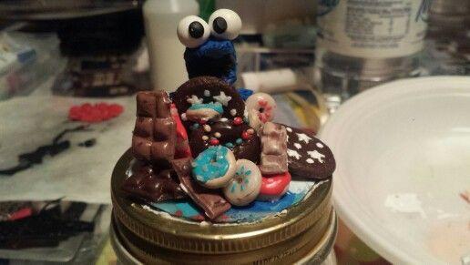Barattolo per zucchero Cookie Monster fatto a mano in fimo. Creazioni IV Novembre.