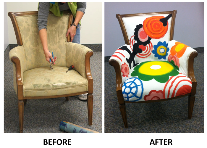Painted Upholstered Storytime Chair Whimsical Painted Furniture Painting Upholstered Furniture Funky Painted Furniture
